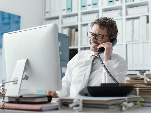 Fridge magnet Confident happy business executive on the phone
