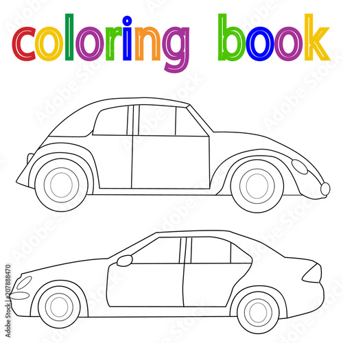 Fotobehang Auto white background, book coloring car
