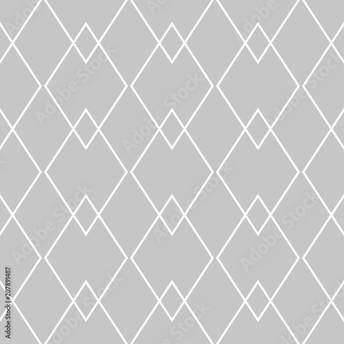 Gray and white geometric monochrome seamless pattern - 207891487