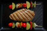 grilled chicken breast with brochette vegetable - 207894838