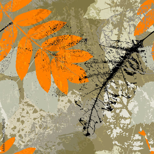 Fotobehang Abstract met Penseelstreken seamless background pattern, with leaves, paint strokes and splashes