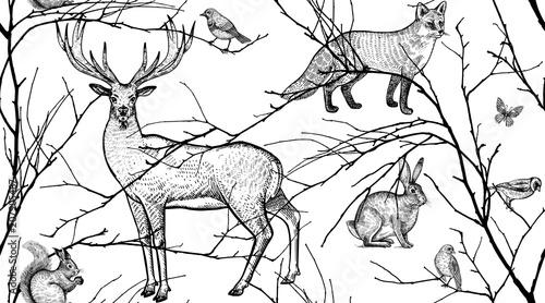 Materiał do szycia Wzór z zwierząt, ptaków i gałęzi drzew.