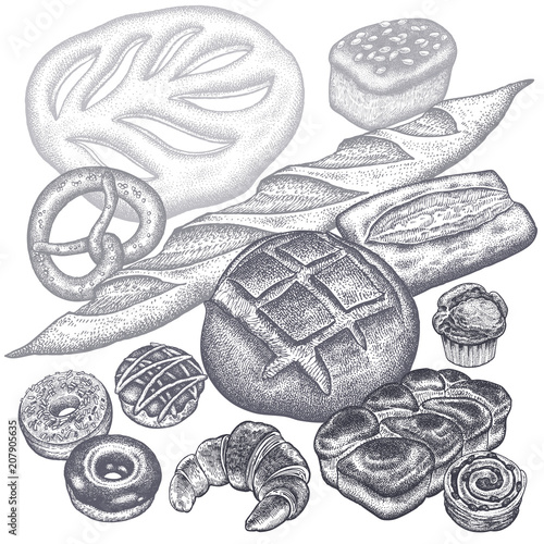 Bread, buns and pastries set.