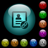 Contact attach icons in color illuminated glass buttons - 207906657