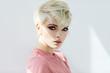 Leinwanddruck Bild - Fashion style photo of female face isolated on white