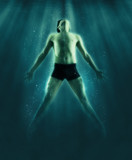 Man floats underwater - 207908489