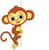 Cartoon monkey character holding a big empty sign ready for any text. Vector illustration.