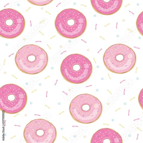 Tapeta Donut vector illustration isolated on white background. Donut icon in a flat style. Seamless pattern, background, card, poster. Template for design.