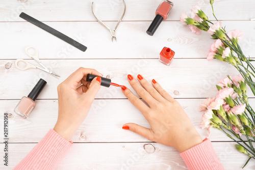 Fotobehang Manicure Manicure nail paint multi color