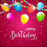 Pink Birthday background with pennants and balloons - 207912841