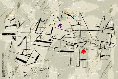 Fotobehang Abstract met Penseelstreken abstract vintage modern art illustration, with paint strokes, splashes and geometric lines