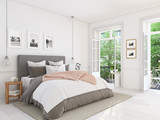 new modern bedroom in a apartment. 3d rendering