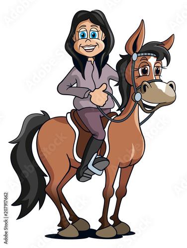Junges Mädchen auf Pferd, Cartoon freigestellt