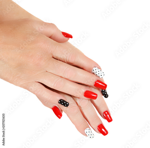 Fotobehang Manicure Female hands with manicure