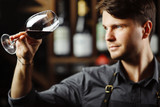 Bokal of red wine on background, male sommelier appreciating drink - 207926806