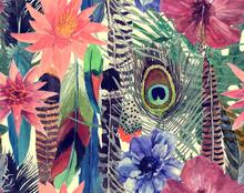 "Постер, картина, фотообои ""Seamless watercolor hand drawn seamless pattern with leaves, flowers, feathers."""