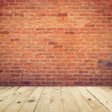 Old brick wall and wooden floor room background texture. - 207927674