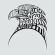 Krafttier Adler als Kopf in einer Wortwolke