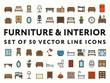 Furniture Interior Minimal Color Flat Line Icon Set. Sofa, Couch, Chair, Bra, Table, Drawer, Cabinet, Sink, Bed, Fridge, Mirror, Locker, Cactus, Pot, Clocks, Pissoir, Desk, Lamp, Aquarium, Carpet, Rug