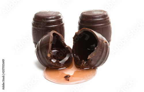 chocolate candies with liqueur isolated