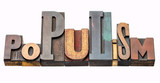 populism word abstract in wood type - 207938057