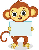 Cartoon monkey character holding a empty sign ready for any text. Vector illustration.