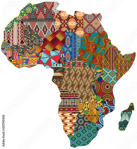 Abstract Africa patchwork traditional fabric pattern vector map  - 207943438