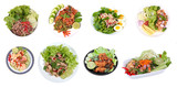 Spicy salad as ,Spicy and sour mixed herb salad with minced pork, deep-fried chicken,boiled eggs,grilled pork , carp eggs of silver barb fish and canned tuna - 207943877