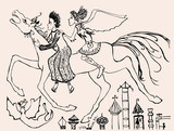 Mythological riders gallop over the city