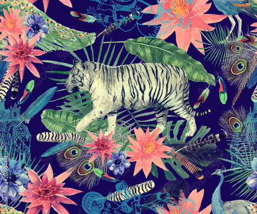 Seamless watercolor pattern with tigers, peacocks, leaves, flowers. © PurpleSkyDesign