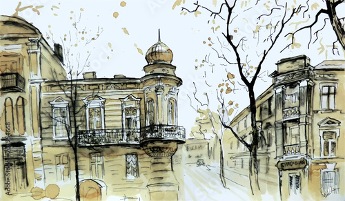 Wall mural Old city view. Colored sketch