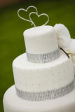 torta bianca con glassa con sopra du cuori - sfondo prato verde - 207961448