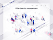 People build an isometric city. Smart technology and business. Landing page template. 3d vector isometric illustration.