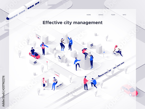 Wall mural People build an isometric city. Smart technology and business. Landing page template. 3d vector isometric illustration.