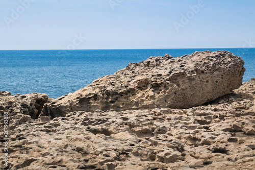 Rocky seaside at island Gozo, Malta
