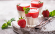 Leinwanddruck Bild - Delicious dessert panna cotta with strawberry