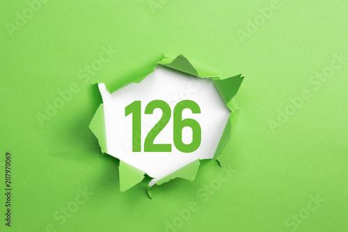Leinwanddruck Bild gruene Nummer 126 auf gruenem Papier