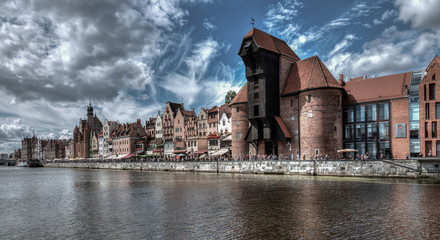 City view of Gdansk, Poland, Motława River.