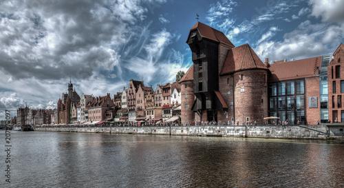 mata magnetyczna City view of Gdansk, Poland, Motława River.