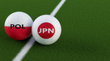 Japan vs. Poland Soccer Match - Soccer balls in Japans and Polands national colors on a soccer field. Copy space on the right side - 3D Rendering