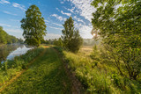 early summer morning at a trail near a channel - 207972433