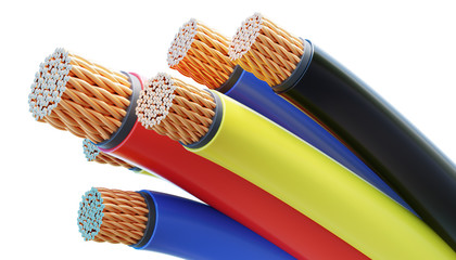 Colorful copper cables and wires isolated on white background. 3D rendered illustration. © vchalup