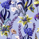 Seamless pattern with lilies and wild flowers. Vector illustration. © YuliMuli
