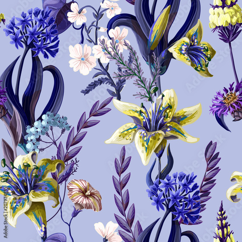 Seamless pattern with lilies and wild flowers. Vector illustration. - 207974855