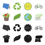 A processing plant, flowers in a pot, a green leaf, a planet Earth.Bio and ecology set collection icons in black,cartoon style vector symbol stock illustration web. - 207975820