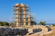 The Temple of Pythian Apollo in restoration work. Acropolis of Rhodes. Rhodes island, Greece