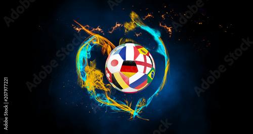 Leinwanddruck Bild Fussball mit Herz