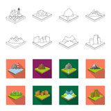 Mountains, rocks and landscape. Relief and mountains set collection icons in outline,flat style isometric vector symbol stock illustration web.