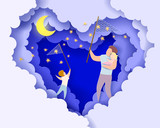 Handsome man and his children dreaming at the night. Happy fathers day card. Paper cut style. Vector illustration