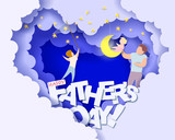 Handsome man and his children dreaming at the night. Happy fathers day card. Paper cut style. Vector illustration - 207979270